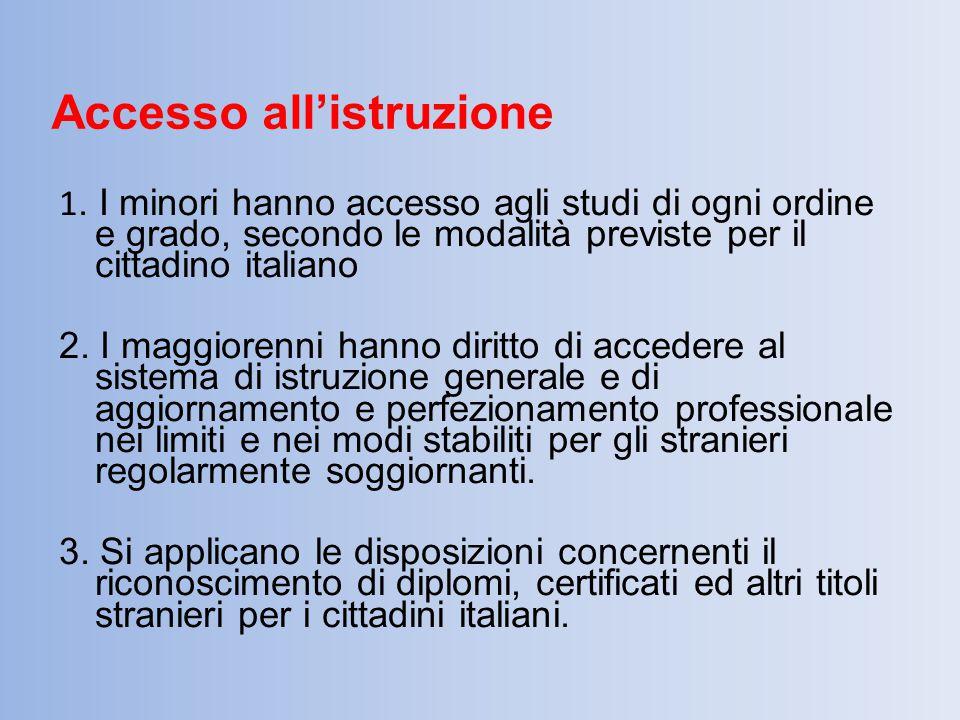 Accesso all'istruzione 1. I minori hanno accesso agli studi di ogni ordine e grado, secondo le modalità previste per il cittadino italiano 2. I maggio