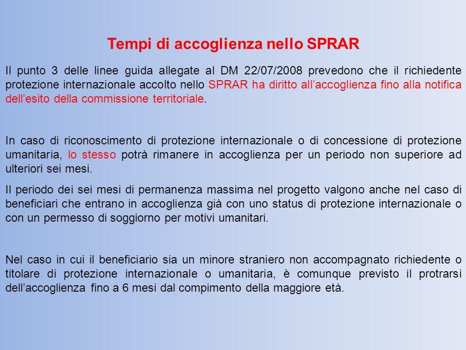 Tempi di accoglienza nello SPRAR Il punto 3 delle linee guida allegate al DM 22/07/2008 prevedono che il richiedente protezione internazionale accolto