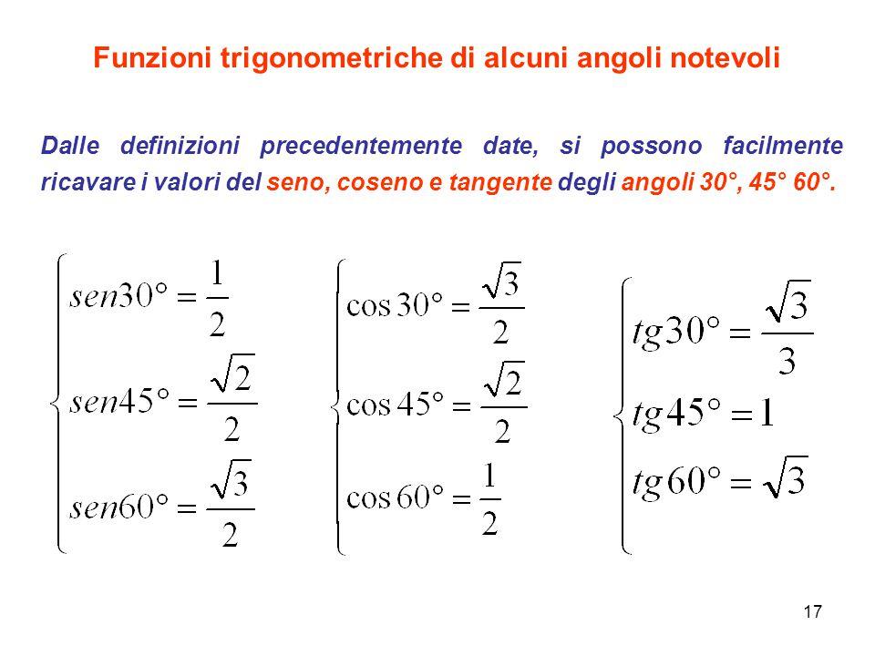 17 Funzioni trigonometriche di alcuni angoli notevoli Dalle definizioni precedentemente date, si possono facilmente ricavare i valori del seno, coseno