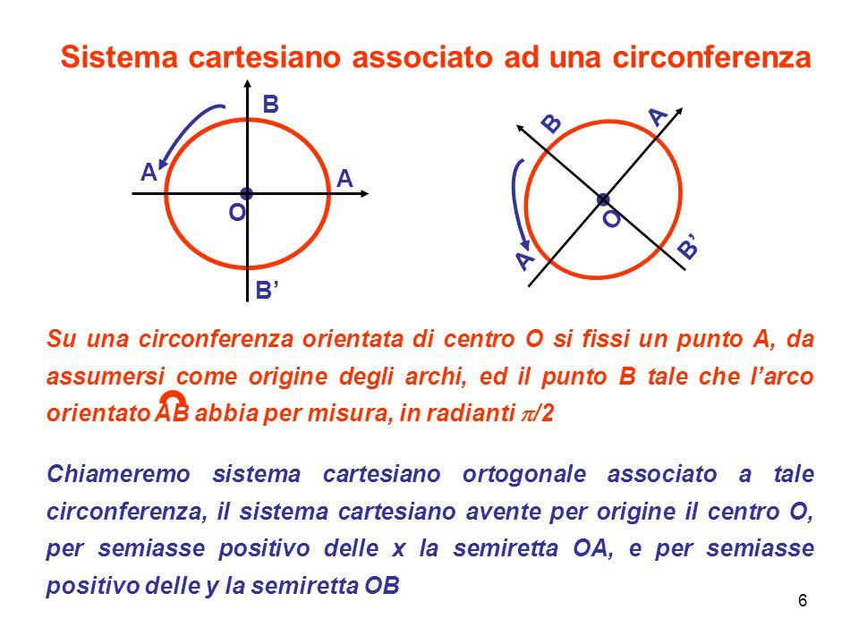 6 Sistema cartesiano associato ad una circonferenza O A B'B' B A'A' O A B'B' B A'A' Su una circonferenza orientata di centro O si fissi un punto A, da