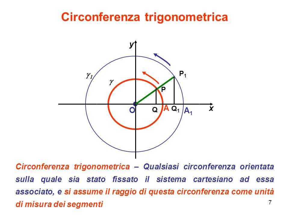 7 Circonferenza trigonometrica Circonferenza trigonometrica – Qualsiasi circonferenza orientata sulla quale sia stato fissato il sistema cartesiano ad