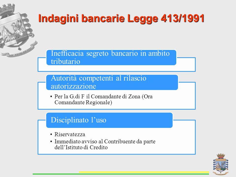 Indagini bancarie Legge 413/1991 Inefficacia segreto bancario in ambito tributario Per la G.di F il Comandante di Zona (Ora Comandante Regionale) Autorità competenti al rilascio autorizzazione Riservatezza Immediato avviso al Contribuente da parte dell'Istituto di Credito Disciplinato l'uso