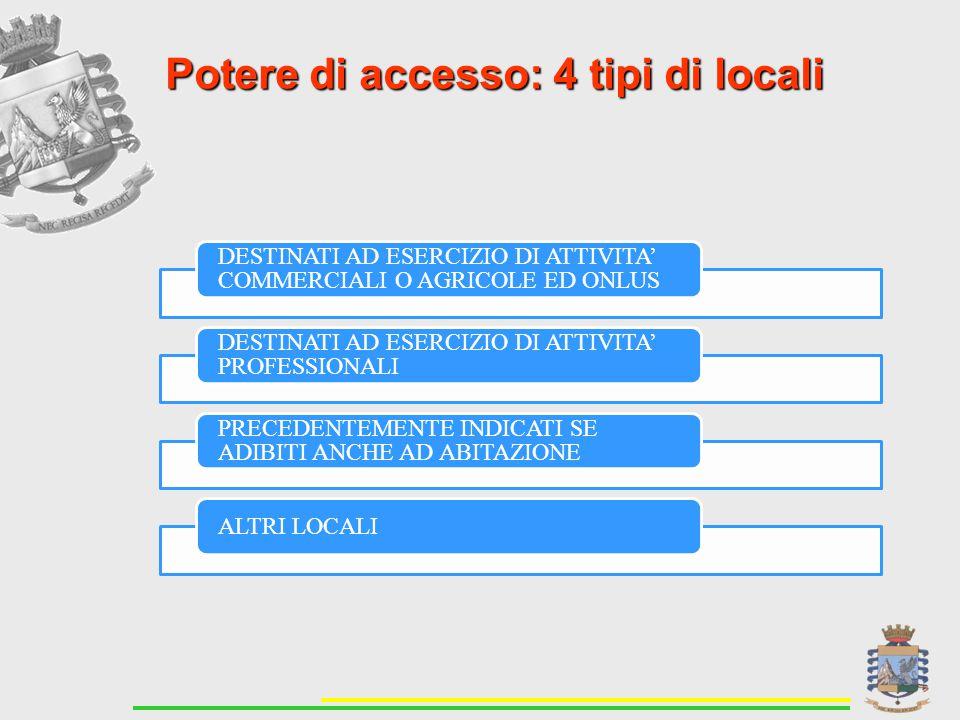 Potere di accesso: 4 tipi di locali DESTINATI AD ESERCIZIO DI ATTIVITA' COMMERCIALI O AGRICOLE ED ONLUS DESTINATI AD ESERCIZIO DI ATTIVITA' PROFESSIONALI PRECEDENTEMENTE INDICATI SE ADIBITI ANCHE AD ABITAZIONE ALTRI LOCALI