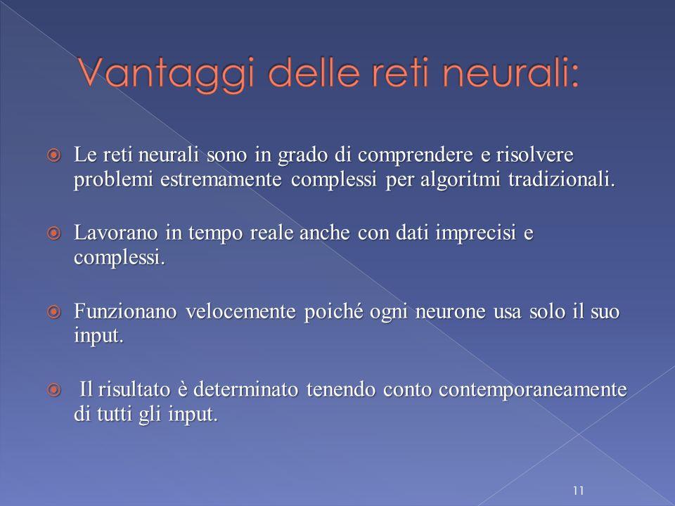  Le reti neurali sono in grado di comprendere e risolvere problemi estremamente complessi per algoritmi tradizionali.