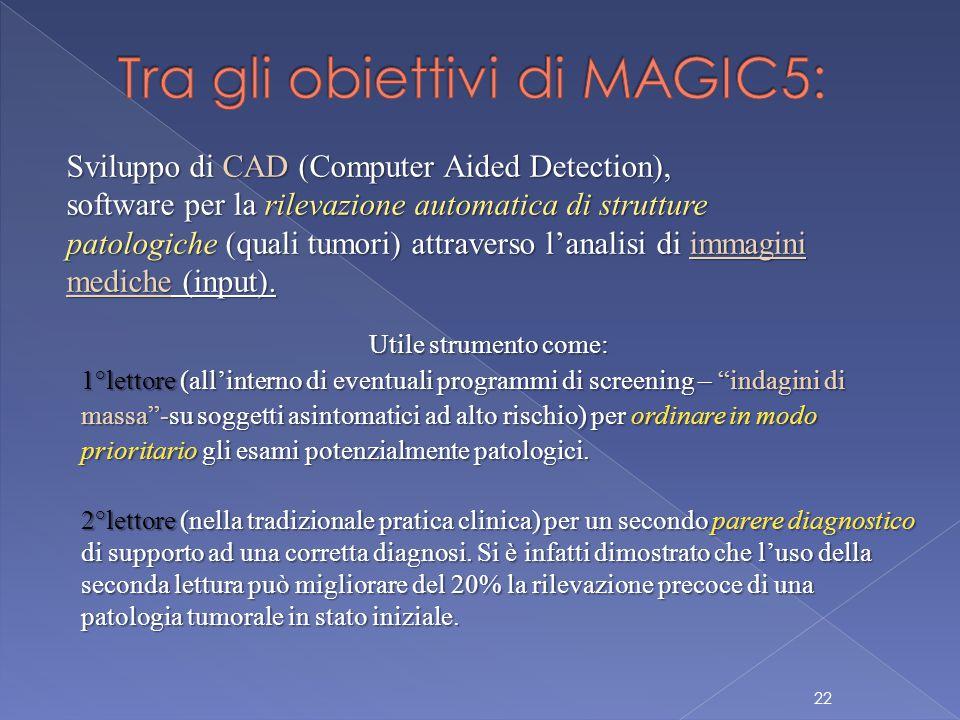 22 Sviluppo di CAD (Computer Aided Detection), software per la rilevazione automatica di strutture patologiche (quali tumori) attraverso l'analisi di immagini mediche (input).
