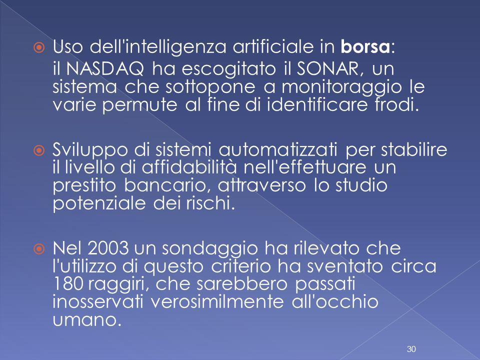  Uso dell intelligenza artificiale in borsa : il NASDAQ ha escogitato il SONAR, un sistema che sottopone a monitoraggio le varie permute al fine di identificare frodi.