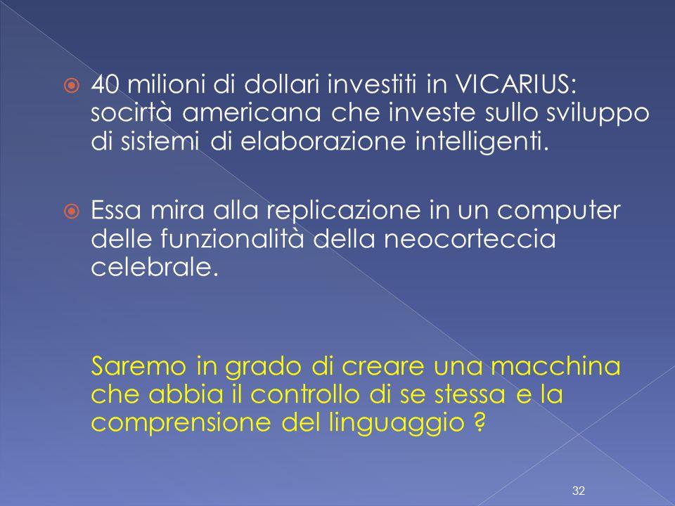  40 milioni di dollari investiti in VICARIUS: socirtà americana che investe sullo sviluppo di sistemi di elaborazione intelligenti.