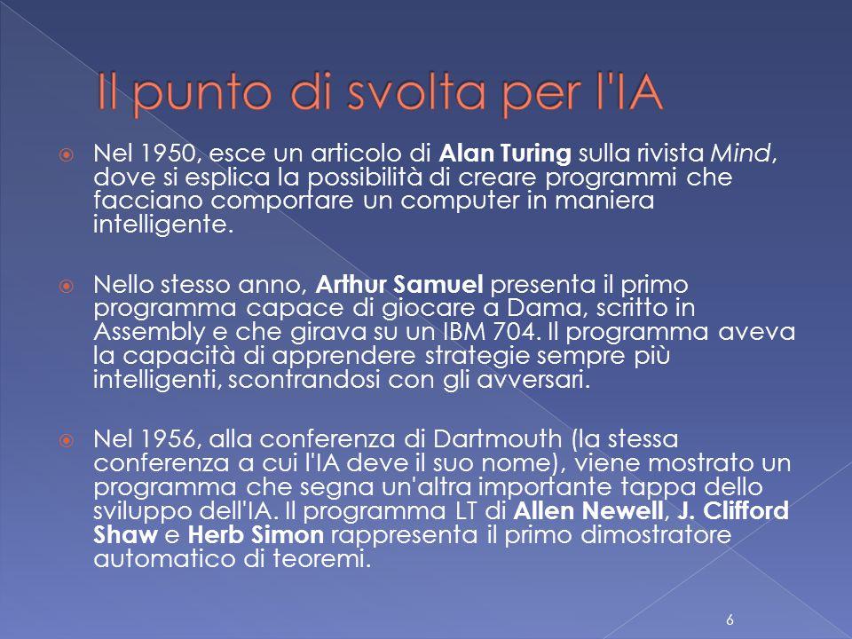  Nel 1950, esce un articolo di Alan Turing sulla rivista Mind, dove si esplica la possibilità di creare programmi che facciano comportare un computer in maniera intelligente.