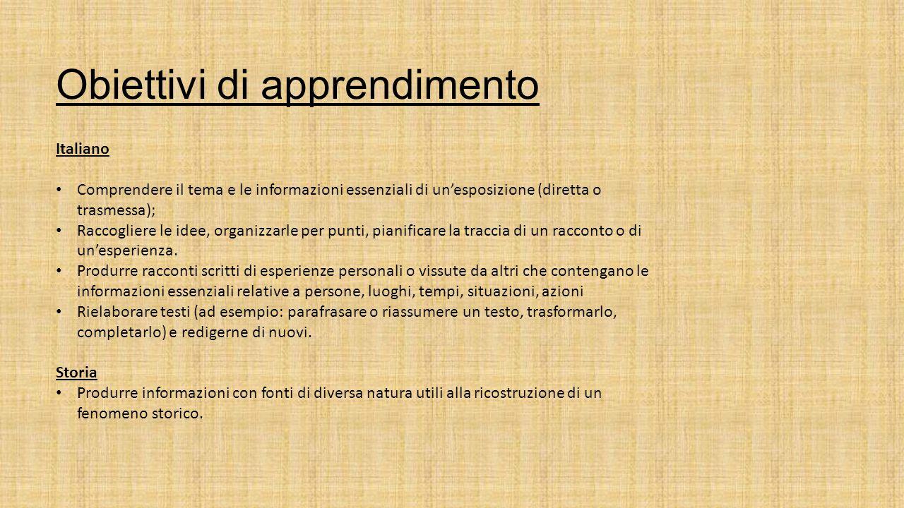 Obiettivi di apprendimento Italiano Comprendere il tema e le informazioni essenziali di un'esposizione (diretta o trasmessa); Raccogliere le idee, organizzarle per punti, pianificare la traccia di un racconto o di un'esperienza.