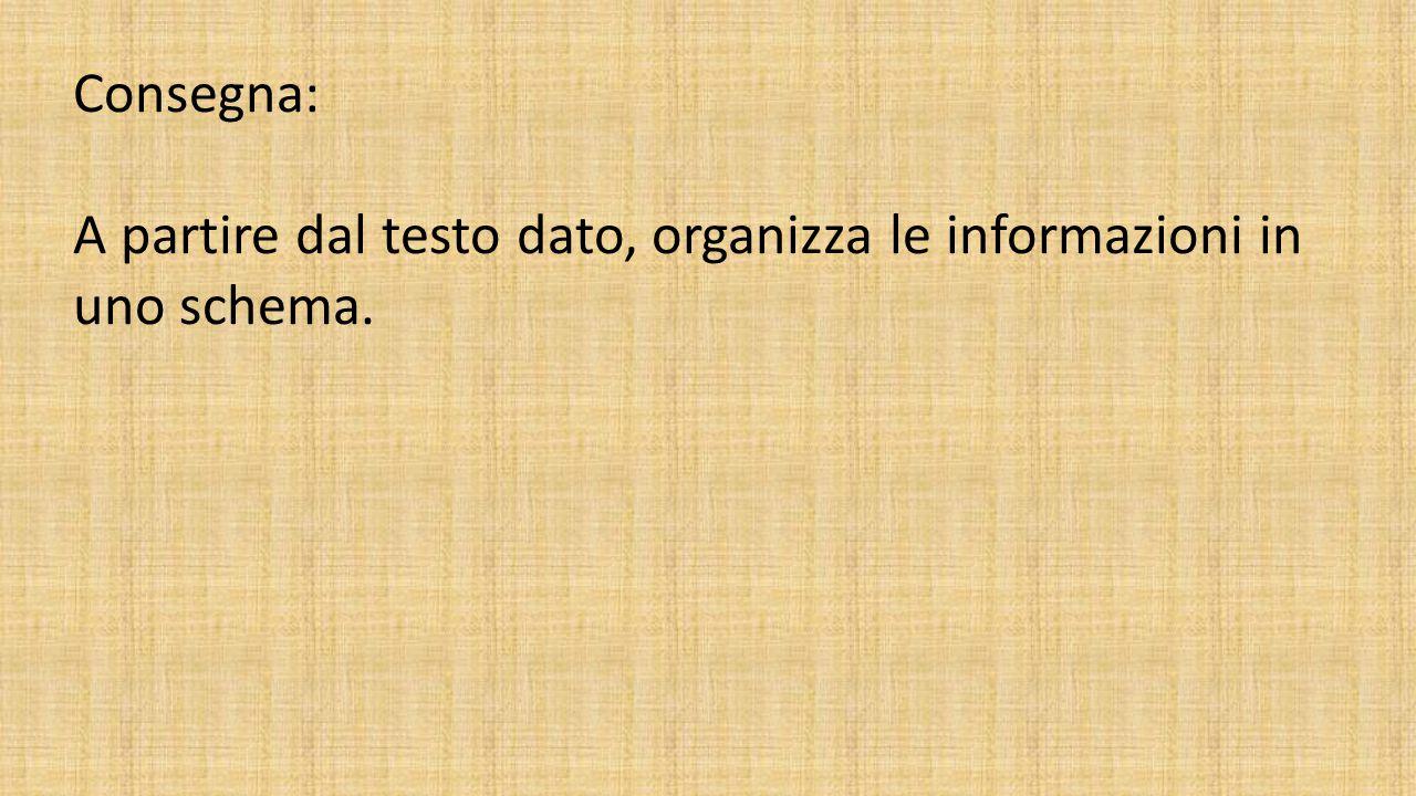 Consegna: A partire dal testo dato, organizza le informazioni in uno schema.
