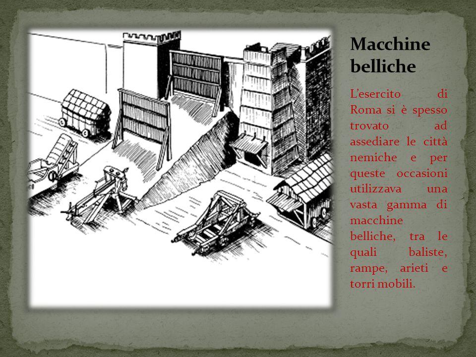L'esercito di Roma si è spesso trovato ad assediare le città nemiche e per queste occasioni utilizzava una vasta gamma di macchine belliche, tra le quali baliste, rampe, arieti e torri mobili.
