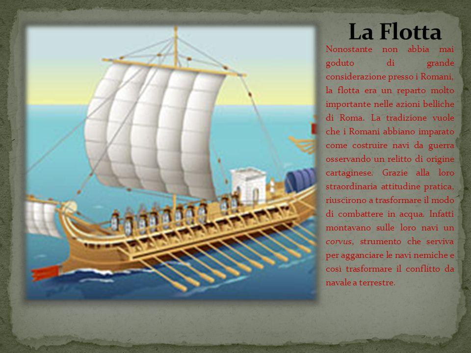 Nonostante non abbia mai goduto di grande considerazione presso i Romani, la flotta era un reparto molto importante nelle azioni belliche di Roma.