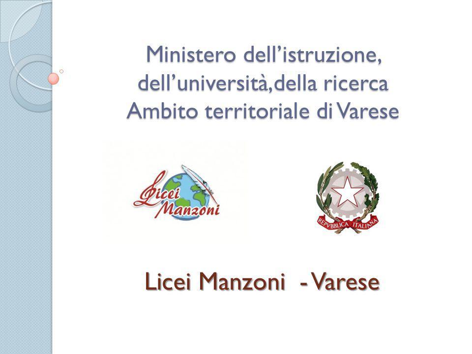 Ministero dell'istruzione, dell'università,della ricerca Ambito territoriale di Varese Licei Manzoni - Varese