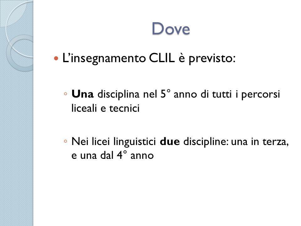 Dove L'insegnamento CLIL è previsto: ◦ Una disciplina nel 5° anno di tutti i percorsi liceali e tecnici ◦ Nei licei linguistici due discipline: una in terza, e una dal 4° anno