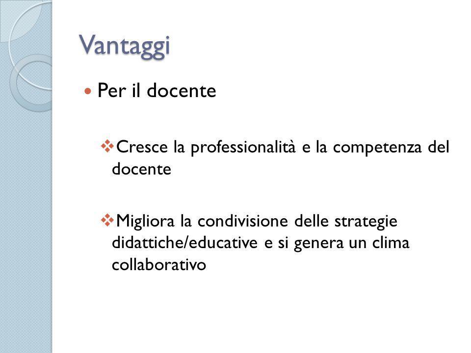 Vantaggi Per il docente  Cresce la professionalità e la competenza del docente  Migliora la condivisione delle strategie didattiche/educative e si g