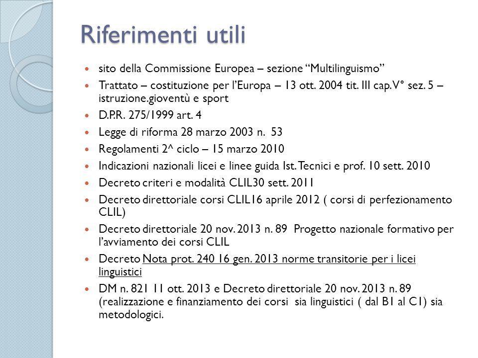 """Riferimenti utili sito della Commissione Europea – sezione """"Multilinguismo"""" Trattato – costituzione per l'Europa – 13 ott. 2004 tit. III cap. V° sez."""