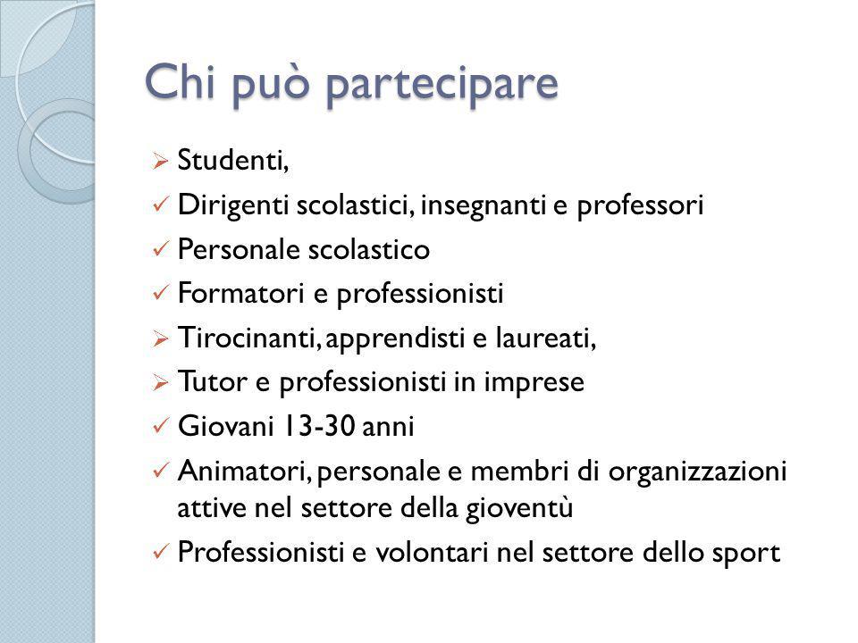 Chi può partecipare  Studenti, Dirigenti scolastici, insegnanti e professori Personale scolastico Formatori e professionisti  Tirocinanti, apprendis
