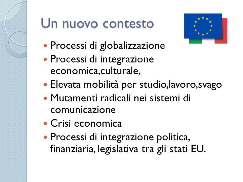 Un nuovo contesto Processi di globalizzazione Processi di integrazione economica,culturale, Elevata mobilità per studio,lavoro,svago Mutamenti radicali nei sistemi di comunicazione Crisi economica Processi di integrazione politica, finanziaria, legislativa tra gli stati EU.