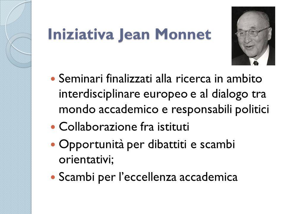 Iniziativa Jean Monnet Seminari finalizzati alla ricerca in ambito interdisciplinare europeo e al dialogo tra mondo accademico e responsabili politici Collaborazione fra istituti Opportunità per dibattiti e scambi orientativi; Scambi per l'eccellenza accademica