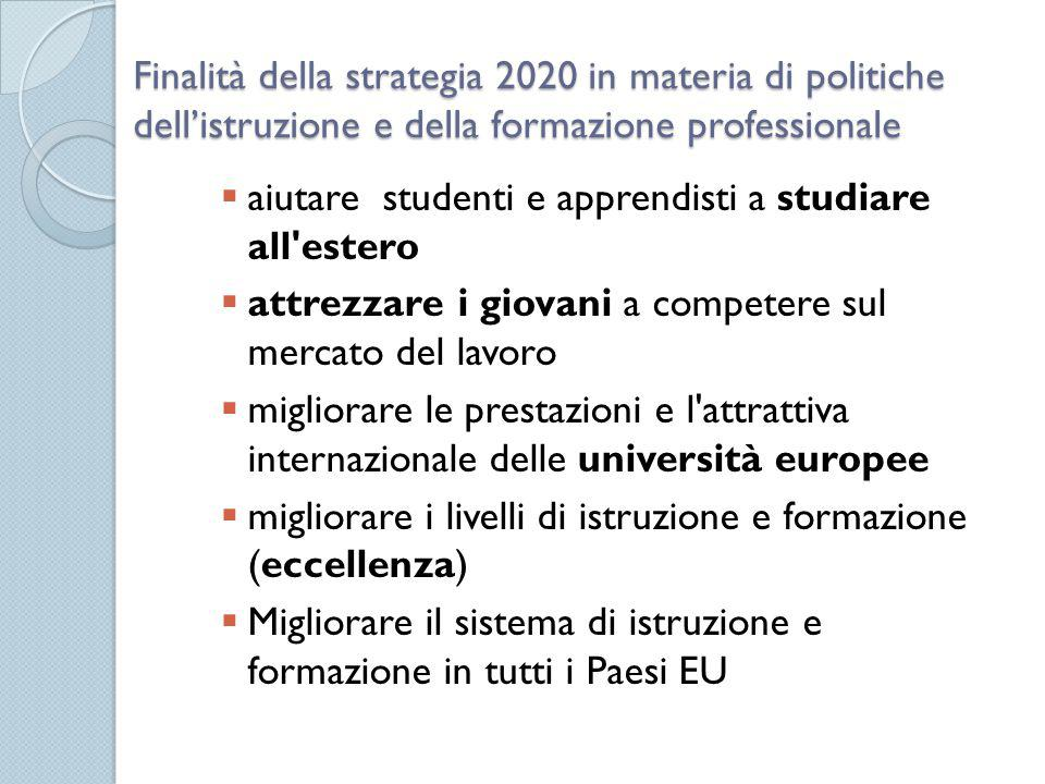 Finalità della strategia 2020 in materia di politiche dell'istruzione e della formazione professionale  aiutare studenti e apprendisti a studiare all