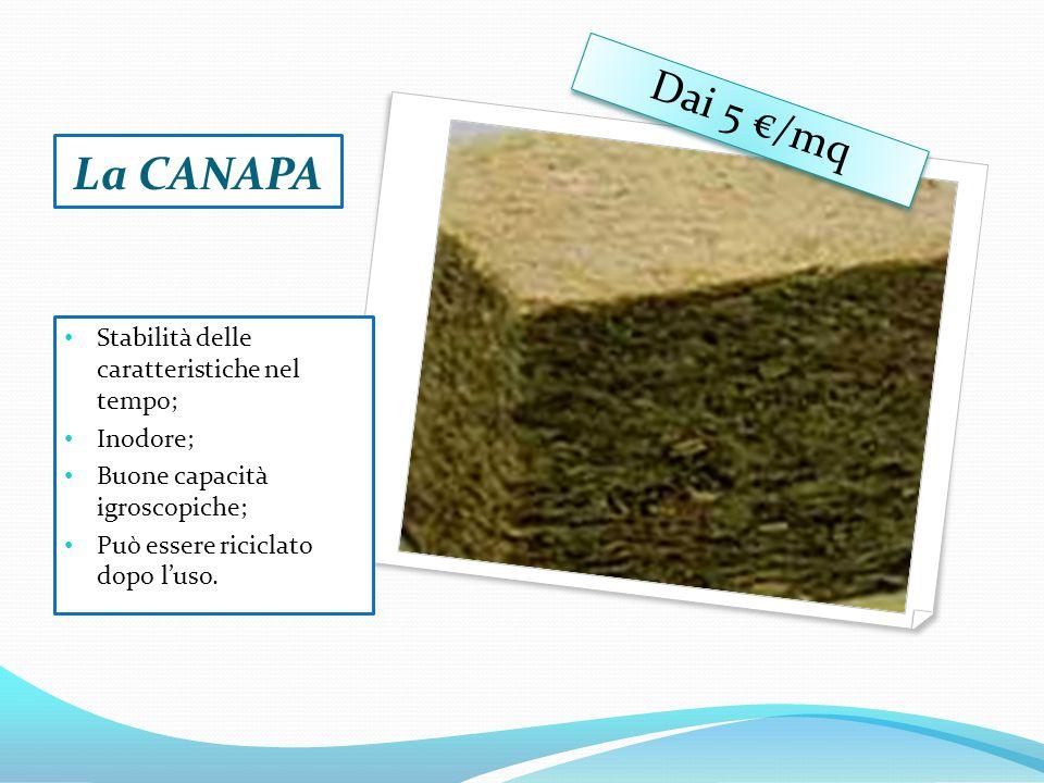 La CANAPA Stabilità delle caratteristiche nel tempo; Inodore; Buone capacità igroscopiche; Può essere riciclato dopo l'uso.