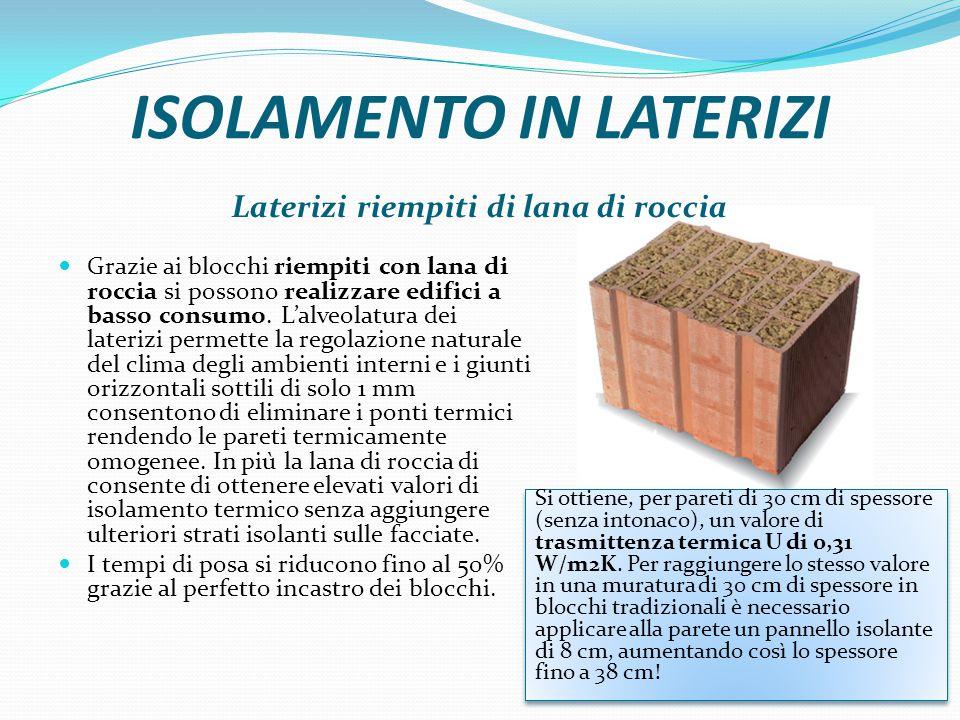 ISOLAMENTO IN LATERIZI Laterizi riempiti di lana di roccia Grazie ai blocchi riempiti con lana di roccia si possono realizzare edifici a basso consumo.