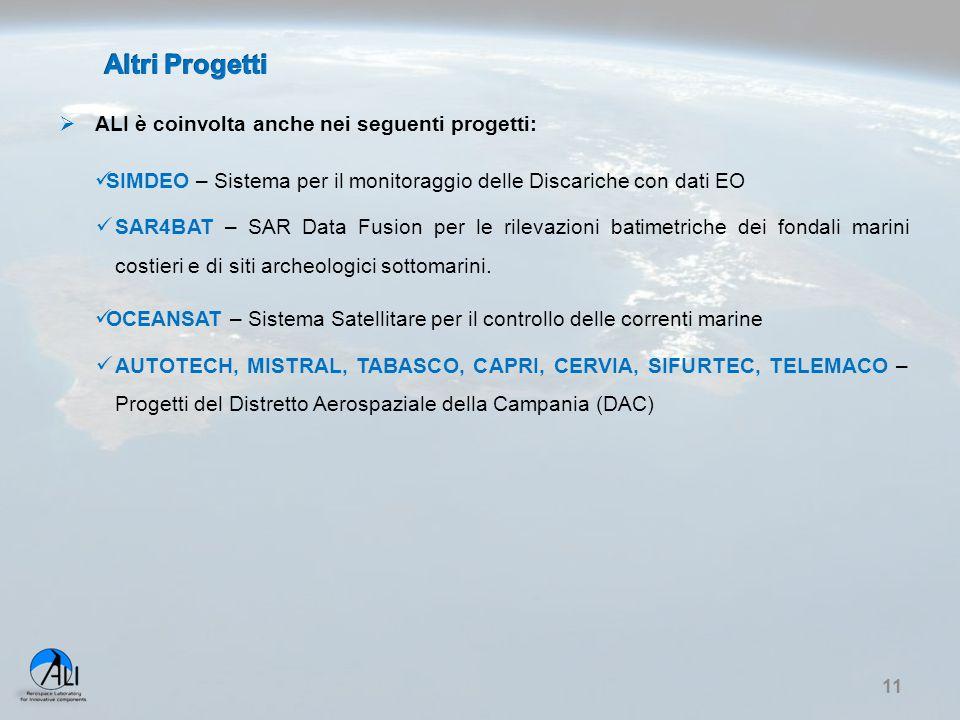  ALI è coinvolta anche nei seguenti progetti: SIMDEO – Sistema per il monitoraggio delle Discariche con dati EO SAR4BAT – SAR Data Fusion per le rile