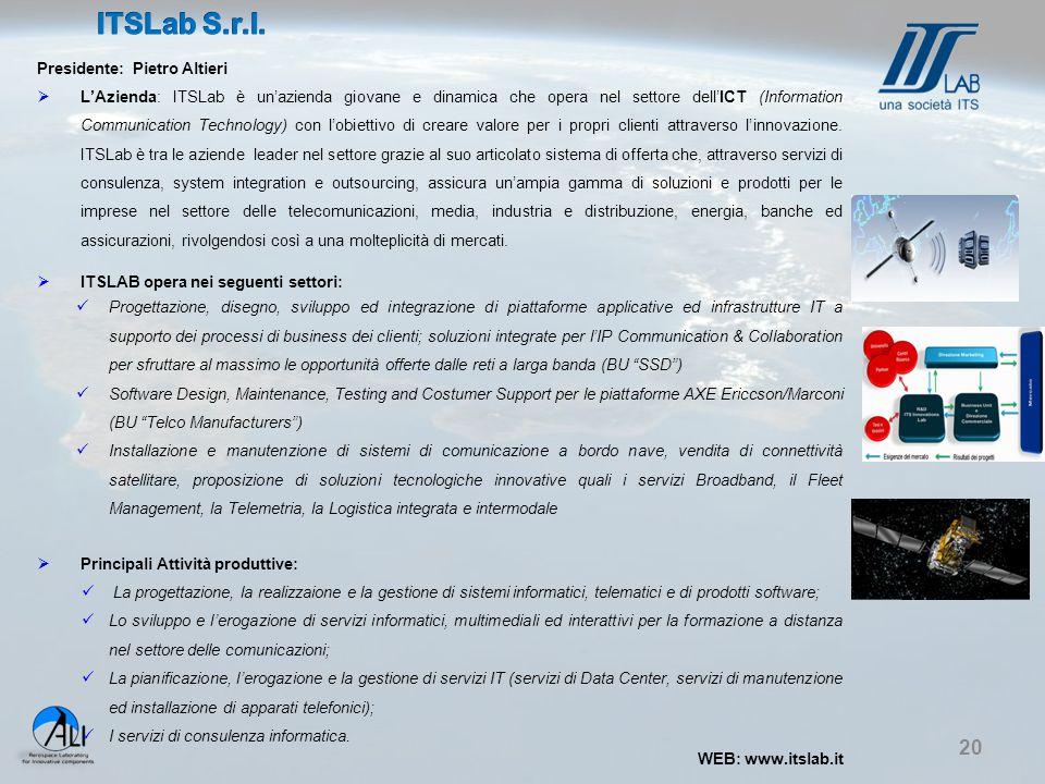 20 Presidente: Pietro Altieri  L'Azienda: ITSLab è un'azienda giovane e dinamica che opera nel settore dell'ICT (Information Communication Technology