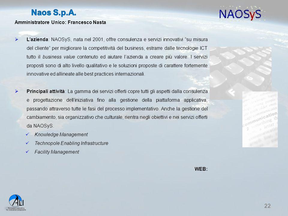 """22 Amministratore Unico: Francesco Nasta  L'azienda: NAOSyS, nata nel 2001, offre consulenza e servizi innovativi """"su misura del cliente"""" per miglior"""