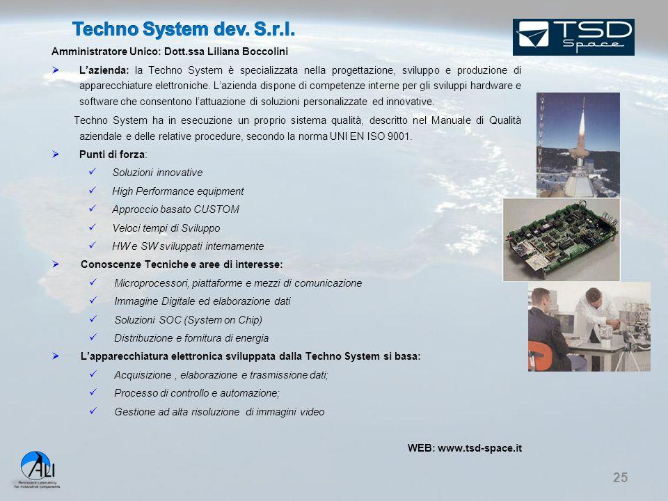 25 Amministratore Unico: Dott.ssa Liliana Boccolini  L'azienda: la Techno System è specializzata nella progettazione, sviluppo e produzione di appare