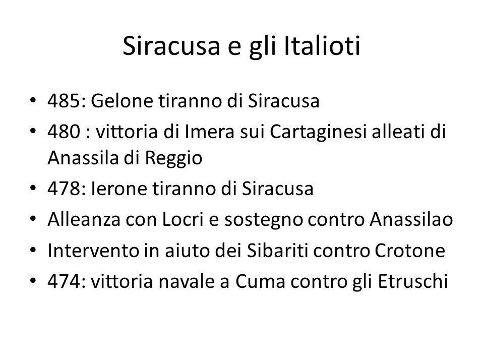 Siracusa e gli Italioti 485: Gelone tiranno di Siracusa 480 : vittoria di Imera sui Cartaginesi alleati di Anassila di Reggio 478: Ierone tiranno di S