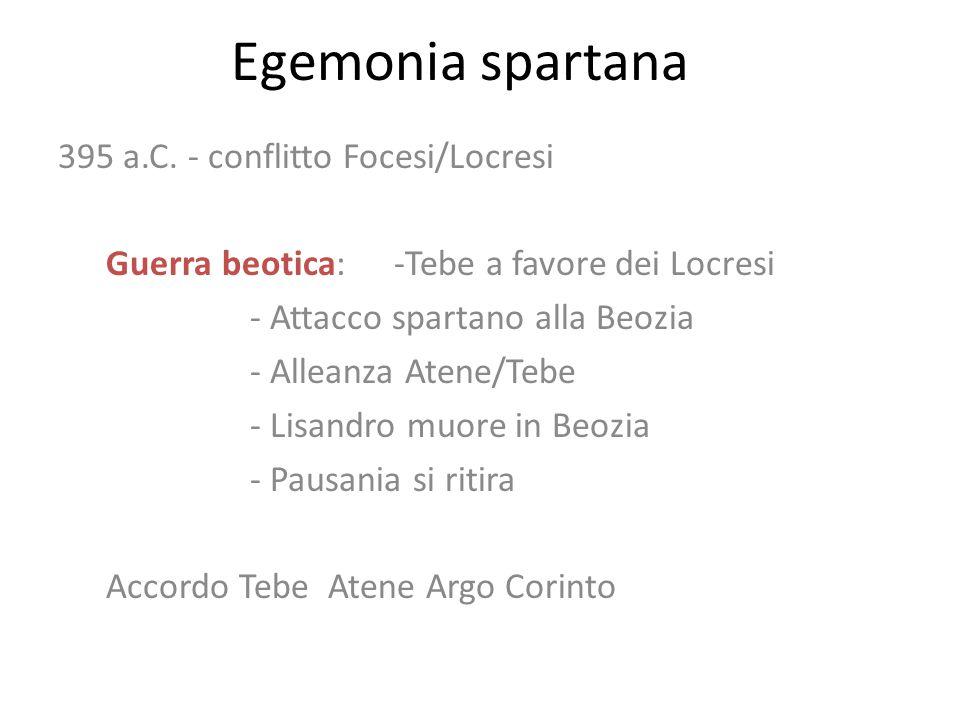 Egemonia spartana 395 a.C. - conflitto Focesi/Locresi Guerra beotica: -Tebe a favore dei Locresi - Attacco spartano alla Beozia - Alleanza Atene/Tebe