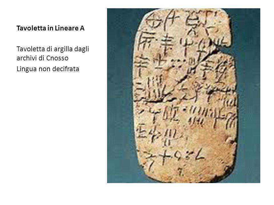 Tavoletta in Lineare A Tavoletta di argilla dagli archivi di Cnosso Lingua non decifrata