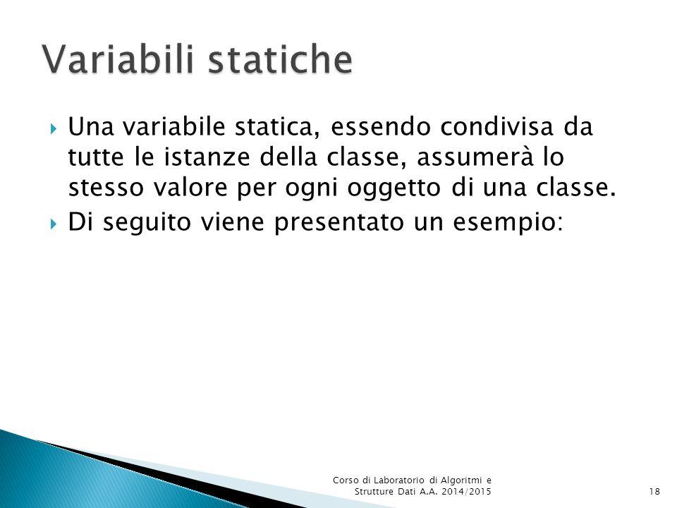 Una variabile statica, essendo condivisa da tutte le istanze della classe, assumerà lo stesso valore per ogni oggetto di una classe.