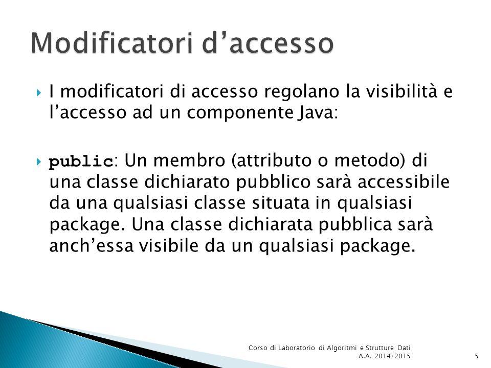 5  I modificatori di accesso regolano la visibilità e l'accesso ad un componente Java:  public : Un membro (attributo o metodo) di una classe dichiarato pubblico sarà accessibile da una qualsiasi classe situata in qualsiasi package.