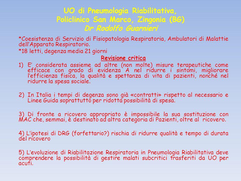 UO di Pneumologia Riabilitativa, Policlinico San Marco, Zingonia (BG) Dr Rodolfo Guarnieri *Coesistenza di Servizio di Fisiopatologia Respiratoria, Ambulatori di Malattie dell'Apparato Respiratorio.