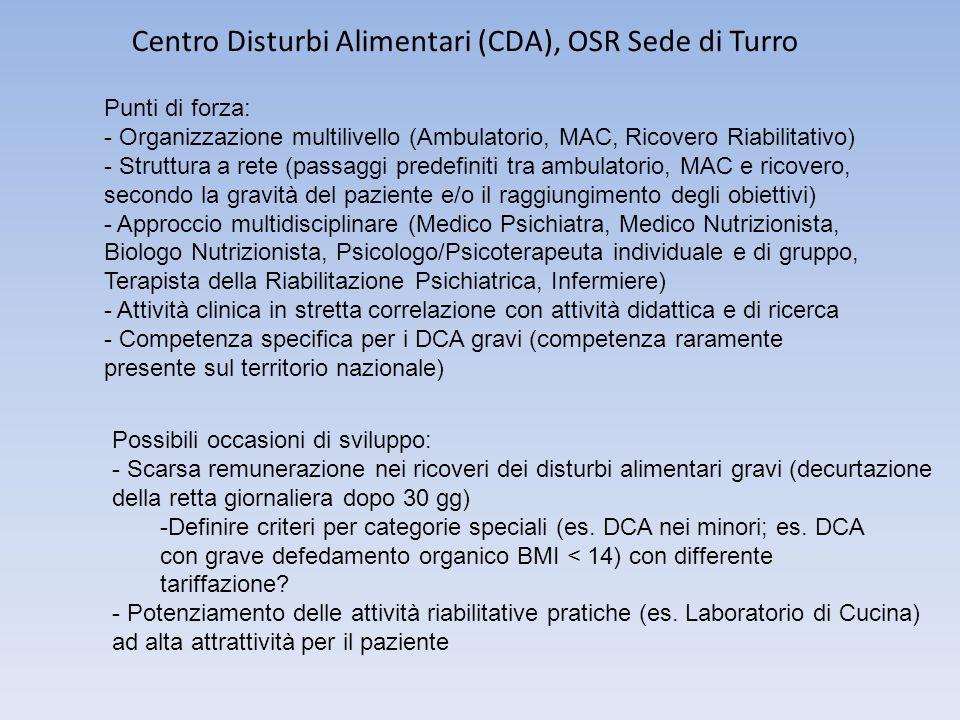 Centro Disturbi Alimentari (CDA), OSR Sede di Turro Punti di forza: - Organizzazione multilivello (Ambulatorio, MAC, Ricovero Riabilitativo) - Struttu
