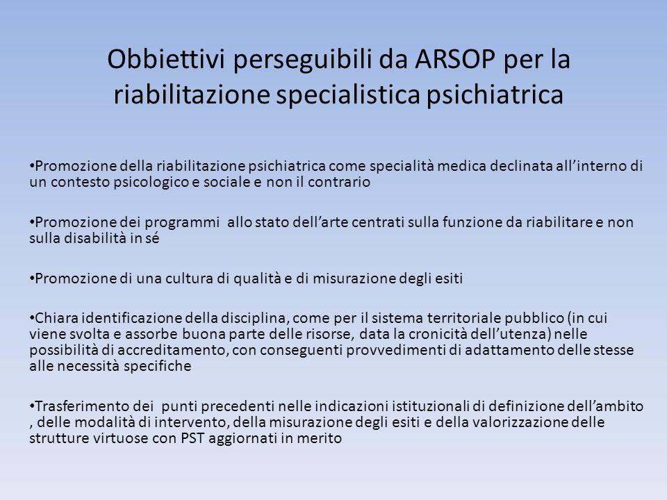 Obbiettivi perseguibili da ARSOP per la riabilitazione specialistica psichiatrica Promozione della riabilitazione psichiatrica come specialità medica