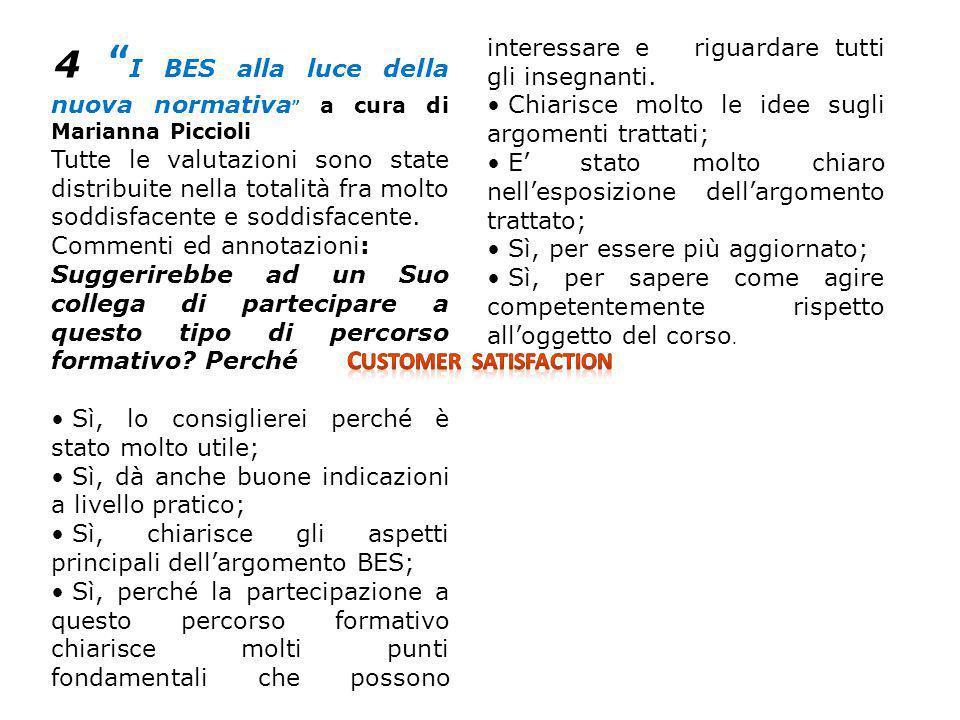 4 I BES alla luce della nuova normativa a cura di Marianna Piccioli Tutte le valutazioni sono state distribuite nella totalità fra molto soddisfacente e soddisfacente.