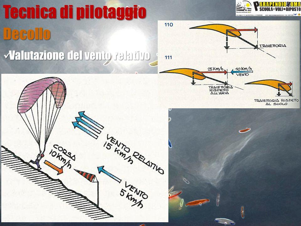 Valutazione del vento relativo Valutazione del vento relativo Decollo Tecnica di pilotaggio Pendenza