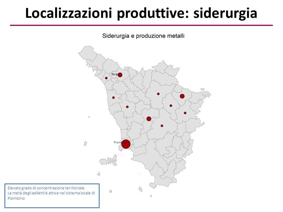 Localizzazioni produttive: siderurgia Elevato grado di concentrazione territoriale. La metà degli addetti è attiva nel sistema locale di Piombino Piom