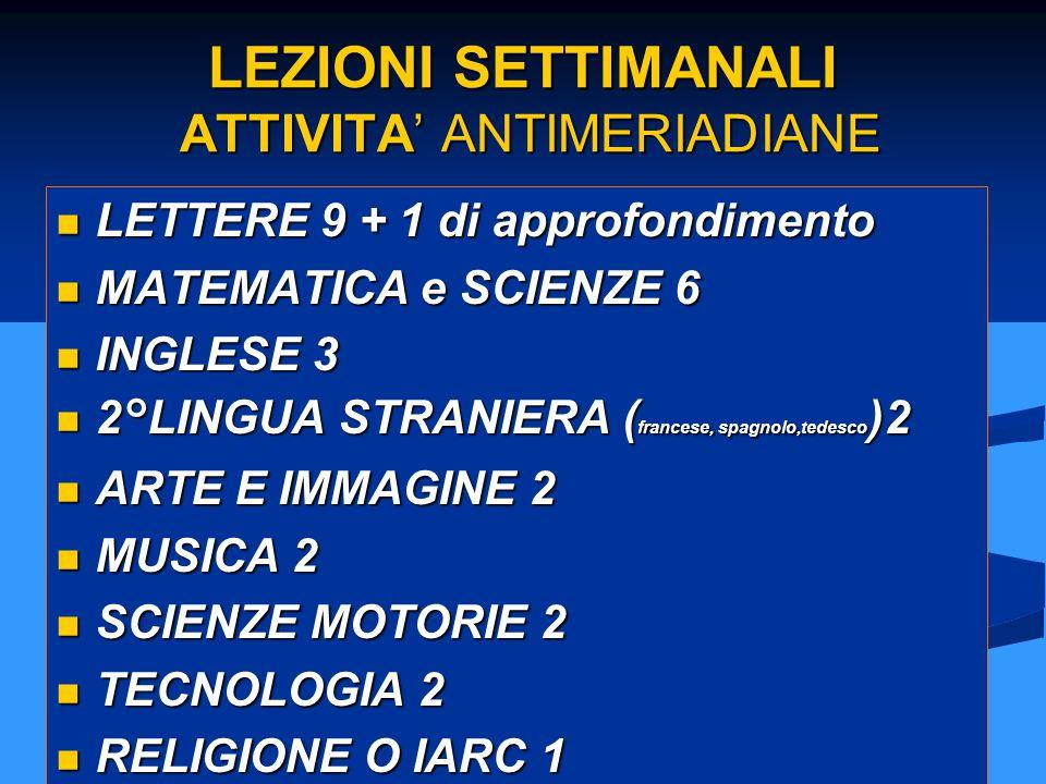 LEZIONI SETTIMANALI ATTIVITA' ANTIMERIADIANE LETTERE 9 + 1 di approfondimento LETTERE 9 + 1 di approfondimento MATEMATICA e SCIENZE 6 MATEMATICA e SCI