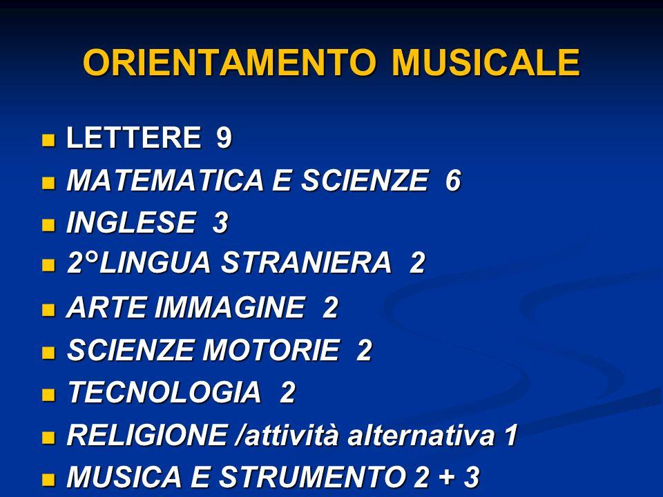 ORIENTAMENTO MUSICALE LETTERE 9 LETTERE 9 MATEMATICA E SCIENZE 6 MATEMATICA E SCIENZE 6 INGLESE 3 INGLESE 3 2°LINGUA STRANIERA 2 2°LINGUA STRANIERA 2