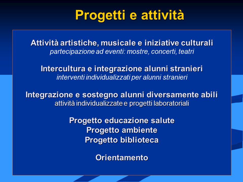 Attività artistiche, musicale e iniziative culturali partecipazione ad eventi: mostre, concerti, teatri Intercultura e integrazione alunni stranieri i