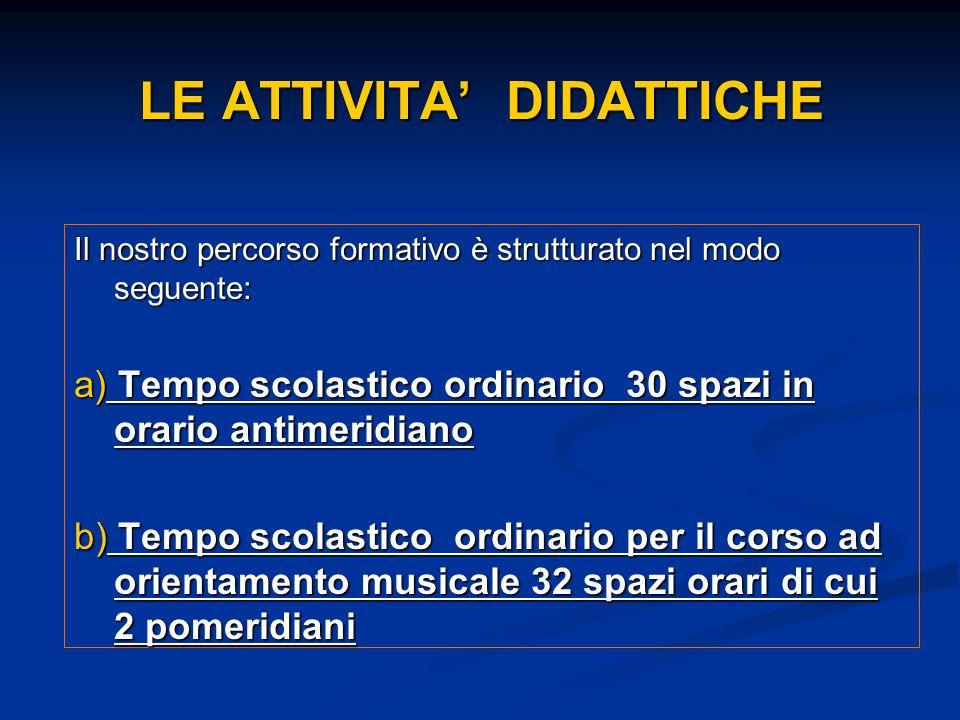 LE ATTIVITA' DIDATTICHE Il nostro percorso formativo è strutturato nel modo seguente: a) Tempo scolastico ordinario 30 spazi in orario antimeridiano b
