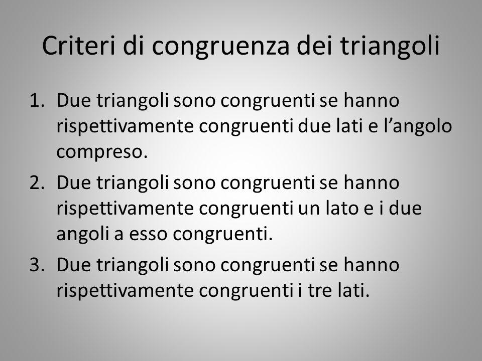 Criteri di congruenza dei triangoli 1.Due triangoli sono congruenti se hanno rispettivamente congruenti due lati e l'angolo compreso. 2.Due triangoli