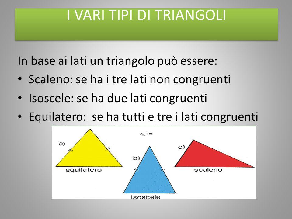 I VARI TIPI DI TRIANGOLI In base ai lati un triangolo può essere: Scaleno: se ha i tre lati non congruenti Isoscele: se ha due lati congruenti Equilat