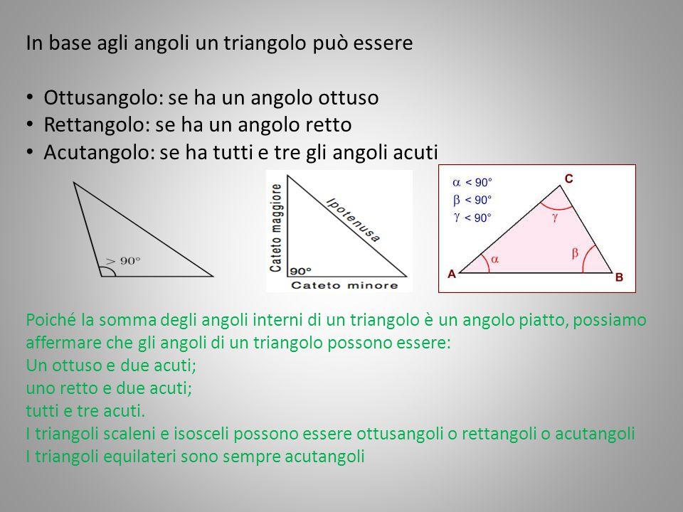 In base agli angoli un triangolo può essere Ottusangolo: se ha un angolo ottuso Rettangolo: se ha un angolo retto Acutangolo: se ha tutti e tre gli an