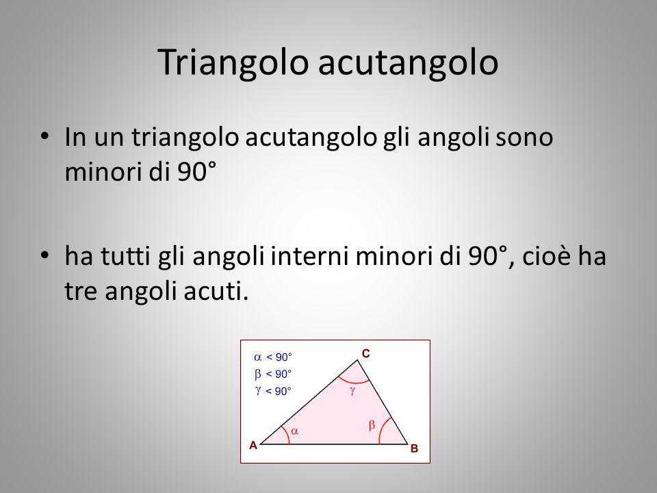 Altre caratteristiche dei triangoli Altezza dei triangoli Si dice altezza di un triangolo relativa ad un lato il segmento perpendicolare alla retta a cui appartiene il lato, condotto per il vertice opposto.