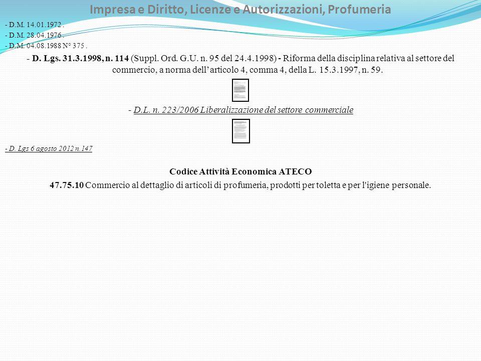 Impresa e Diritto, Licenze e Autorizzazioni, Profumeria - D.M. 14.01.1972. - D.M. 28.04.1976. - D.M. 04.08.1988 N° 375. - D. Lgs. 31.3.1998, n. 114 (S